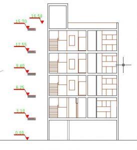 نقشه اتوکد4طبقه 7واحدی