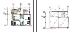 نقشه اتوکد دو طبقه اسکلت بتنی